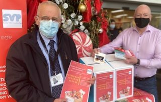 Brian Mc Avoy SVP & Terry Mulkerns launch the St Vincent de Paul Christmas Appeal at Mulkerns