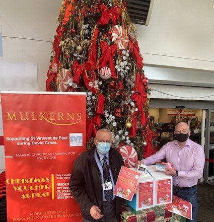 Terry Mulkerns (Mulkerns SPAR & Eurospar)& Brian Mc Evoy (SVP) launch Christmas Appeal
