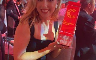 Enya McAteer photographed with Convenience Rising Star Award
